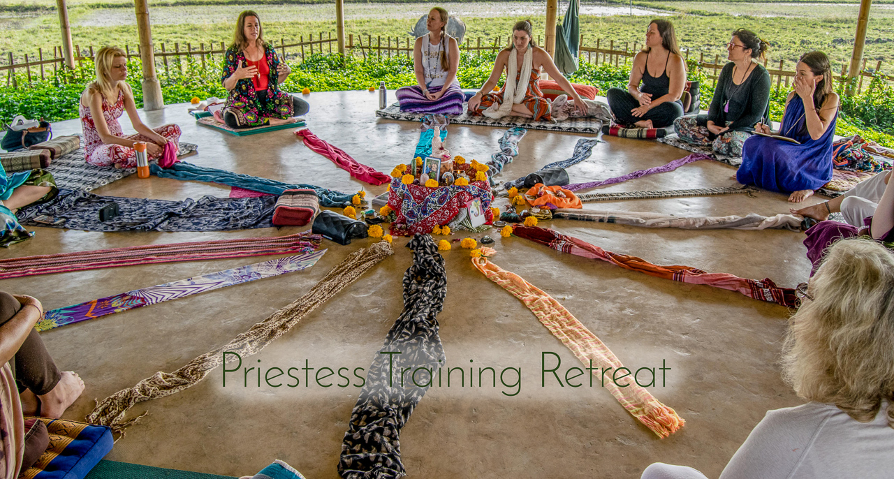 Dawn DelVecchio Priestess Gathering in Yoga Shala at Mala Dhara Yoga Retreat Center Chiang Mai Thailand