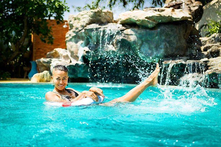 swimming in salt water pool at Mala Dhara Chiang Mai
