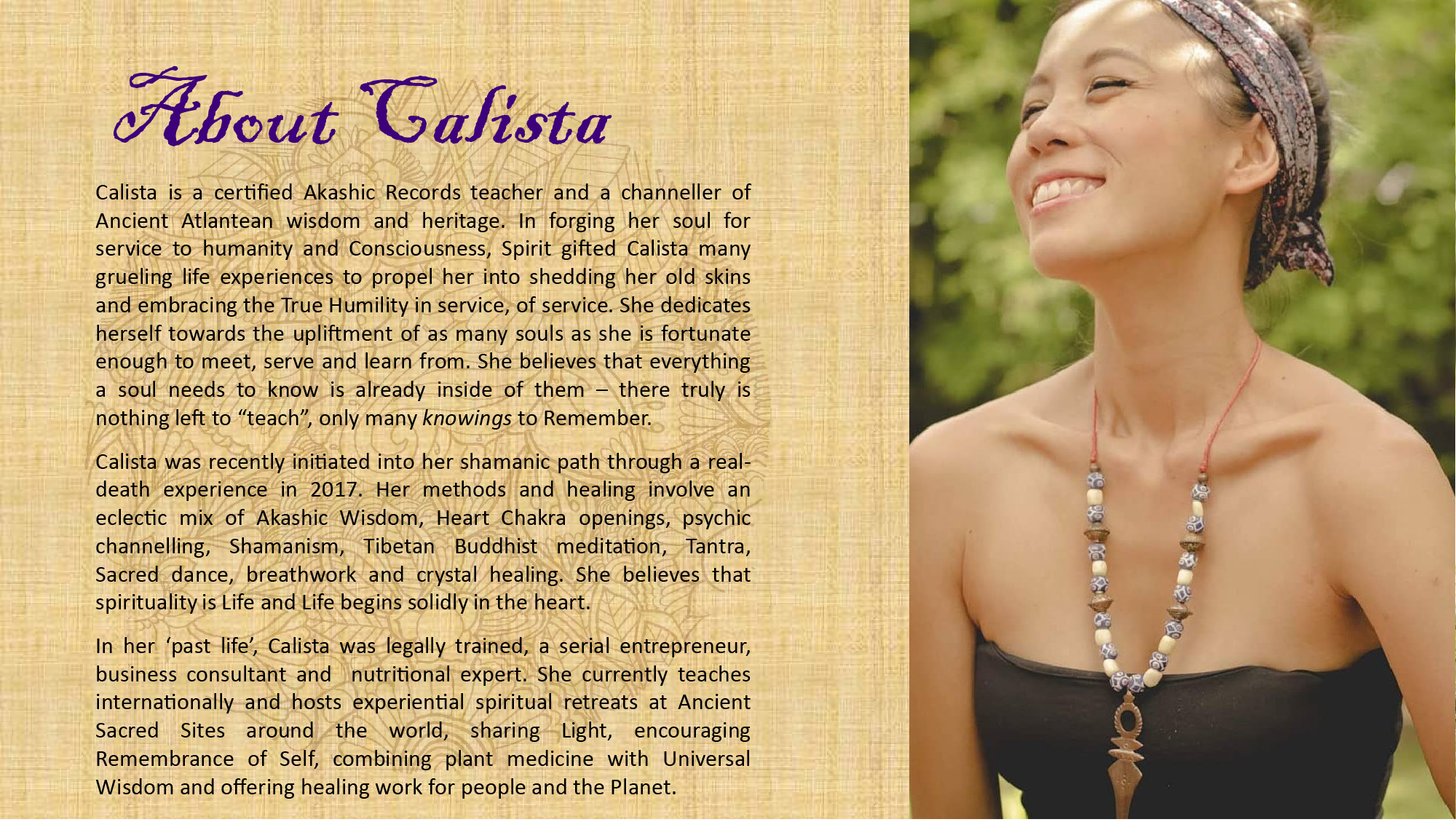 Calista Goh is a certified Akashic records teacher and channeller of Ancient Wisdom