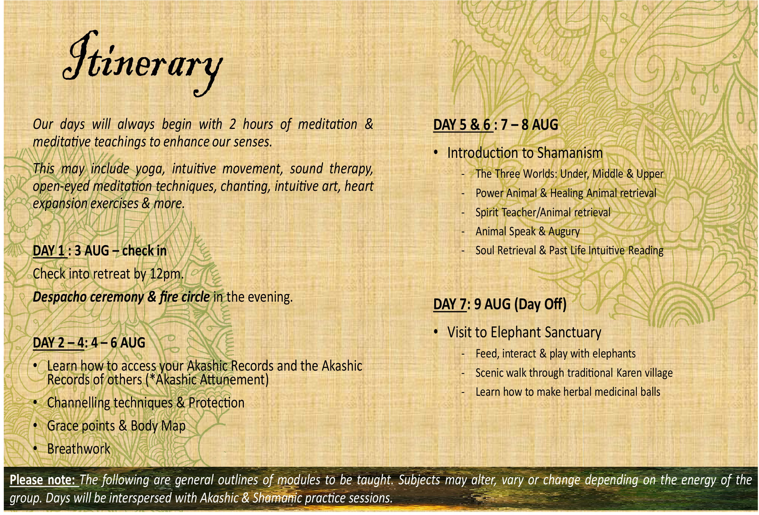 Itinerary of Akashic records Retreat at Mala Dhara Yoga Retreat Center in Chiang Mai Thailand